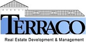Blue Terraco Real Estate Development and Management logo. Behind the word Terraco sits a blue and white house the length of the word.