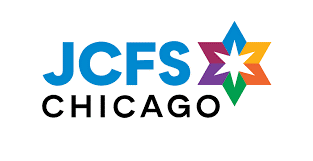 "a logo with a rainbow Star of David, the words read ""JCFS Chicago"""