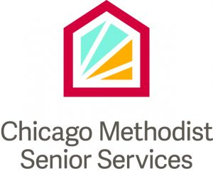 Chicago Methodist Senior Services logo with a simple red building outline with green and orange fragments