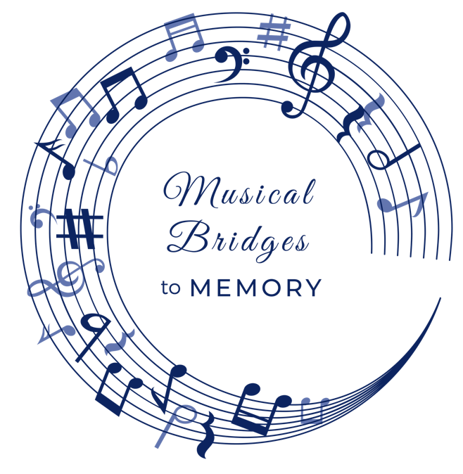 Musical Bridges to Memory logo: A blue circular music staff with various notes