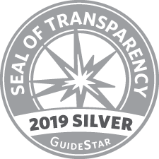GuideStar 2019 Silver Seal of Transparency with a grey starblast in the center