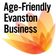 "A bright orange flower blooming from the bottom right corner with overlaid text that reads, ""Age-Friendly Evanston Business"""