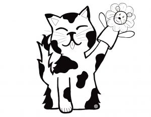 a black and white illustration of a cat with a hand puppet of a lion.