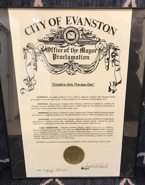 The framed Creative Arts Therapy Day Proclamation