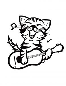 black and white illustration of a cat singing and holding a guitar