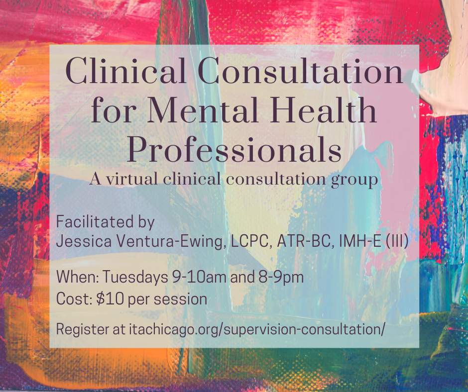 """Colorful brush strokes. The overlaid text reads, """"Clinical Consultation for Mental Health Professionals"""""""