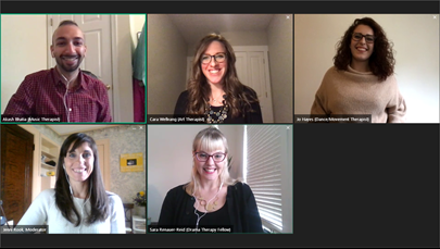 Screenshot of webinar panelists and moderator during a GoToMeeting virtual webinar