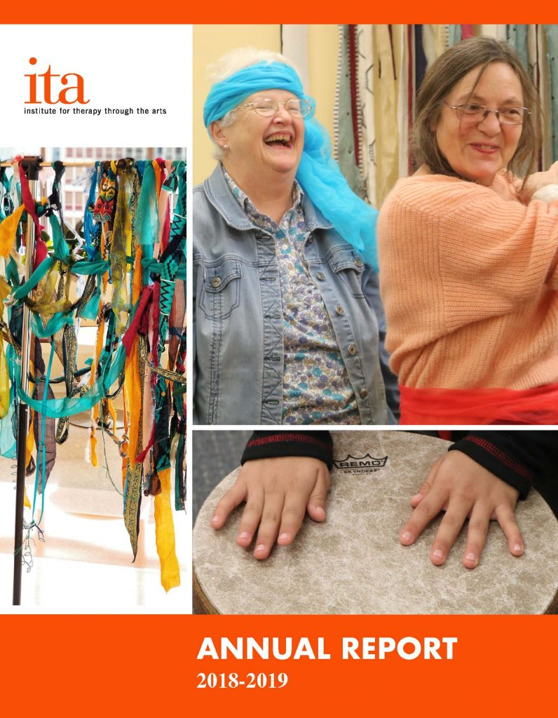Cover of FY19 Annual Report featuring photos of women laughing, colorful fabric, and a child's hands drumming.