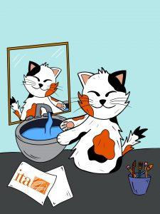 Art CAT washing her hands