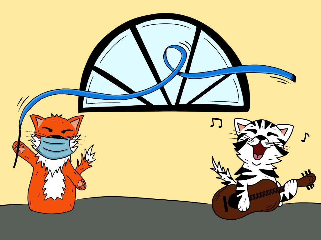 Dance CAT and Music Cat 6 feet apart dancing and singing together