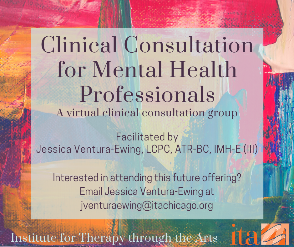 "Colorful brush strokes, the text reads, ""Clinical Consultation for Mental Health Professionals"""