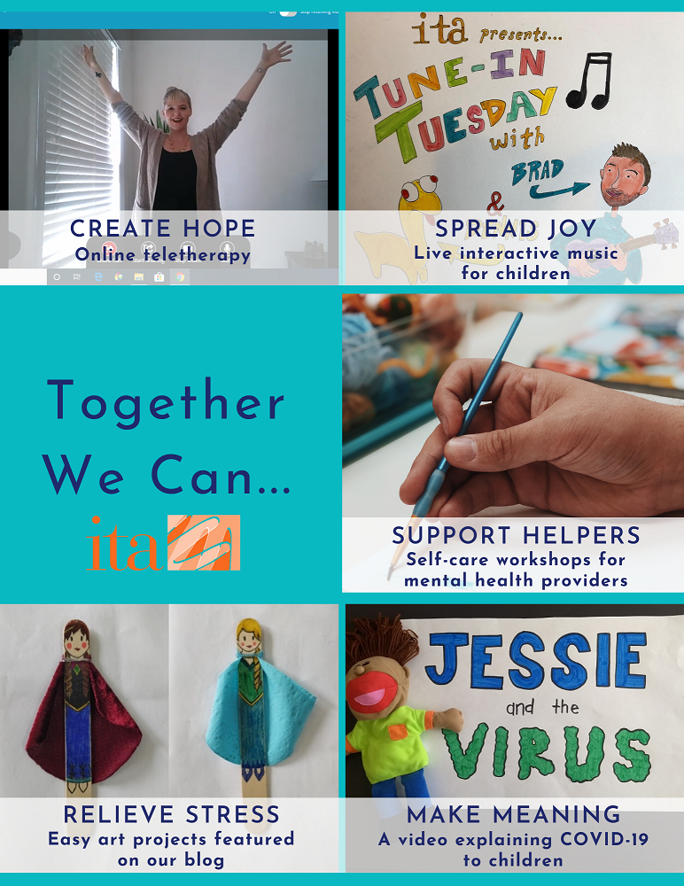 "Flyer with 5 photos: ITA therapist with their arms raised, hand made card that reads, ""Tune-in Tuesday"", a hand painting, a hand made card that reads, ""Jessie and the Virus"" with a child puppet, 2 hand made popsicle people of Anna and Elsa from Frozen."