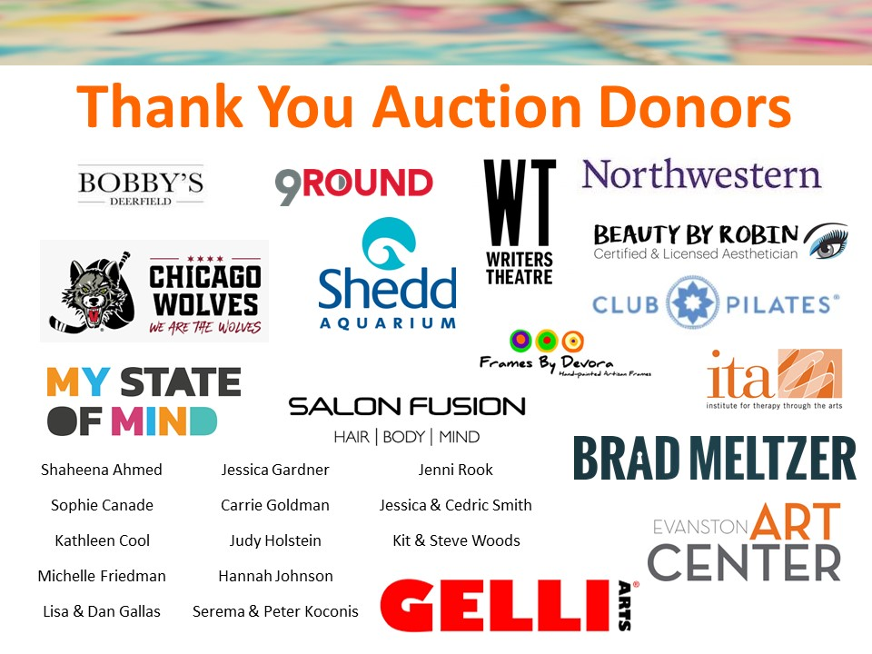 """Collage of silent auction donor logos, text reads, """"Thank You Auction Donors""""."""