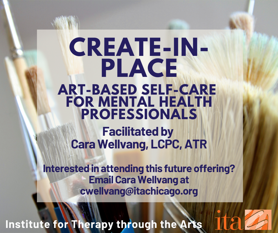 "A close up photo of paintbrushes with an overlaid pink translucent square. The text reads, ""Create-in-Place: Art-Based Self-Care for Mental Health Professionals"""