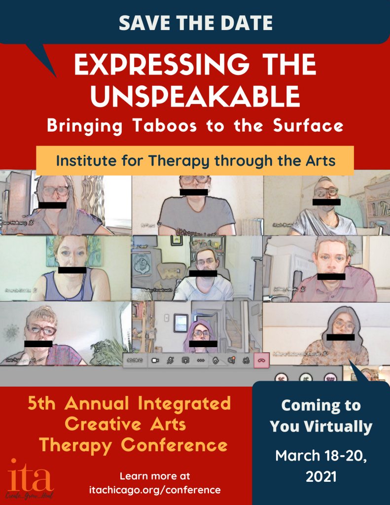 Flyer featuring screenshot of Teams meeting with 9 ITA staff members with black bars over their mouths.