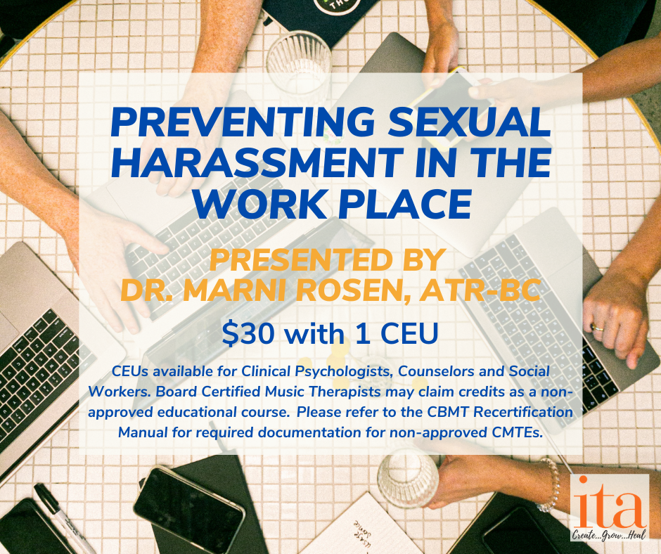"People sitting around a table with laptops and coffee. The overlaid text reads, ""Preventing Sexual Harassment in the Work Place"""