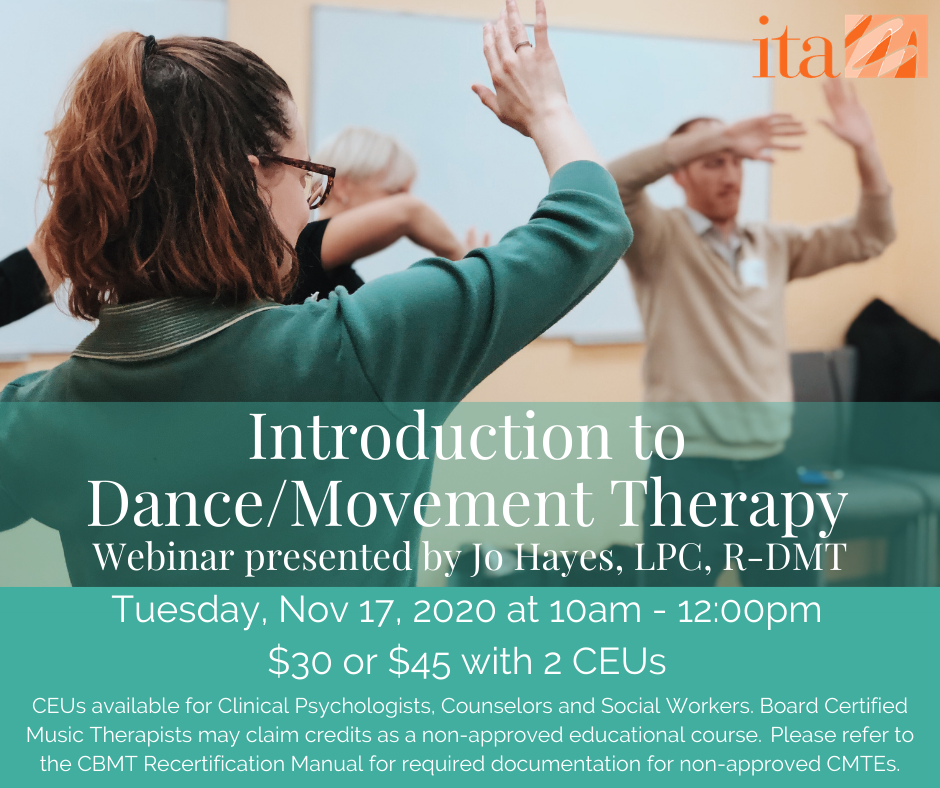 "A group of people moving, waving their arms, and smiling. Text reads, ""Introduction to Dance/Movement Therapy. Tuesday, November 17 at 10 AM to 12:00 PM."""