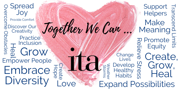 "Orange painted heart with a surrounding word cloud of encouraging words. Main text reads, ""Together We Can...""."