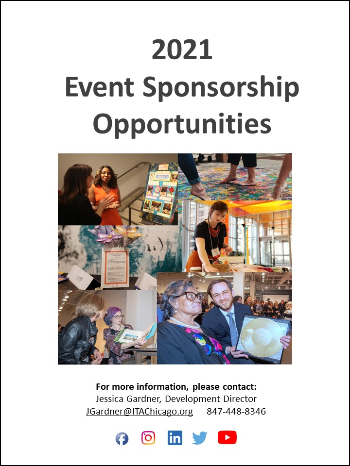 Collage of images: ITA intern and guest talking at the 2018 fundraiser, close up of 3 people walking on a painted canvas, ITA intern arranging fabric on a table in a large room with floor to ceiling windows at the 2019 ITA conference, ITA music therapist and client at the 2019 fundraiser, ITA therapist and guest looking at art at the 2019 fundraiser, a placard and paper flowers sitting on a table.