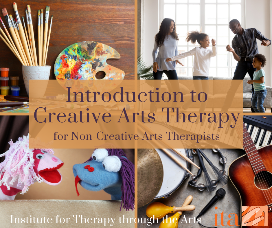 """4 photos: various art supplies sat on a table, a family of four dancing together in their living room, musical instruments sat on a table, 2 hand puppets talking on a small puppet stage. Text reads, """"Introduction to Creative Arts Therapy for Non-Creative Arts Therapists""""."""