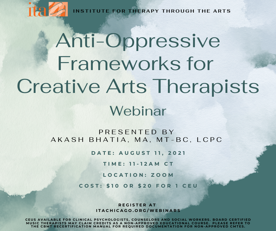 """Green and blue watercolor clouds. Text reads, """"Anti-Oppressive Frameworks for Creative Arts Therapists""""."""
